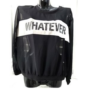 DIVIDED Black Sheer Whatever Logo Blouse Size 8